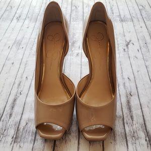 Jessica Simpson • Nude Panent Peep Toe Heels